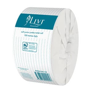 Livi Essentials 2ply JUNIOR Jumbo Toilet Rolls (120m per roll x 16 rolls per carton) - Bulk WholeSale