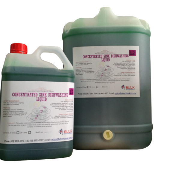 'Hospitality Grade' Concentrated Sink Dishwashing Liquid 25 Litre - Bulk Wholesale