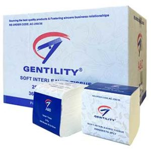 Gentility 2ply Interleaved Toilet Tissues 250 sheets x 36 packs per carton - Bulk WholeSale
