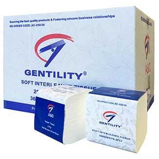 Gentility 2ply Interleaved Toilet Tissues 250 sheets x 36 packs per carton - Bulk WholeSale
