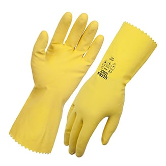 Yellow Ultra Touch Flocklined Dishwashing Gloves 30cm x12 pack - Bulk WholeSale