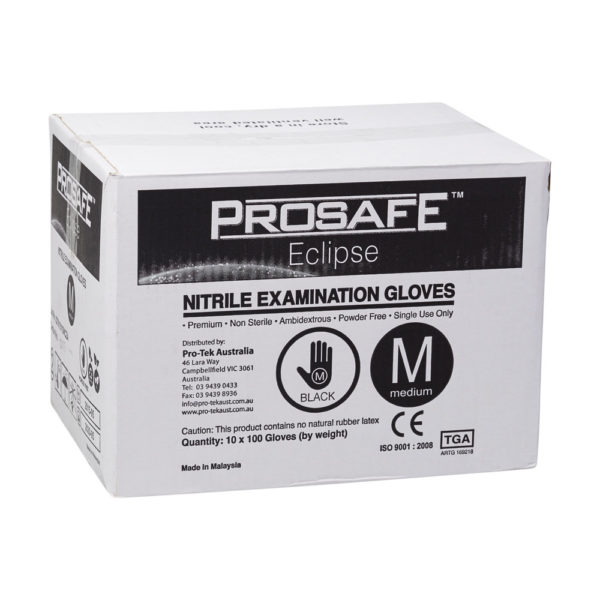 ProSafe Black Nitrile Examination Gloves 10 x 100 (1000 per carton) - Bulk WholeSale
