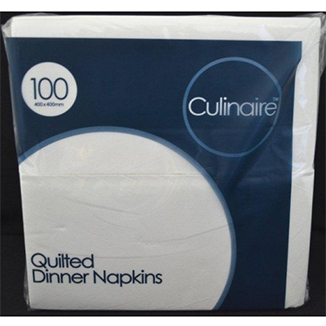 Culinaire Quilted Dinner Napkins GT Fold White x 1000 sheets per carton - Bulk Wholesale