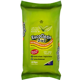EucoClean 2-in-1 Anti-Bacterial Wipes 5pk x 60 sheets - Bulk Wholesale
