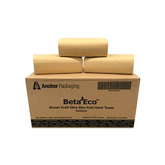 Recycled Brown Kraft Interleaved Hand Towels (24x24cm) - Bulk Wholesale