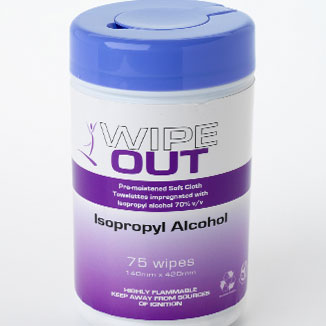 Wipe Out Isopropyl Alcohol Wipes (75 wipes per tub) - Bulk Wholesale