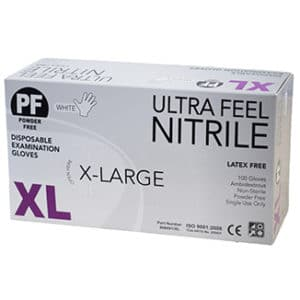 Ultra Feel WHITE Nitrile Powder Free Disposable Gloves x 1000 per carton - Bulk WholeSale