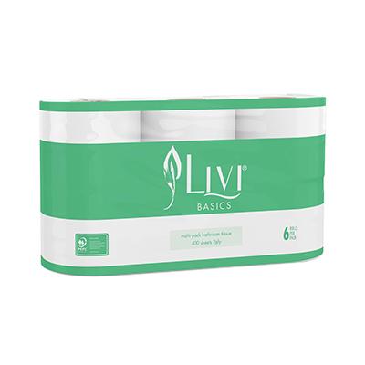 Livi Basics 2ply Toilet Tissues 400 sheets x 6 rolls per pack - Bulk WholeSale