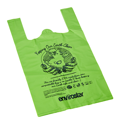 Envirostar Food Grade Compostable Singlet Shopping Bags ~ GMO Free - Bulk WholeSale