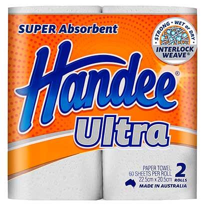 Handee Ultra Kitchen Towel 2 Ply X 8 Or 12 Rolls Per Bale
